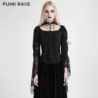 Punk Rave Fashion Gothic Women Sexy Lace Floral Blouse Punk Novelty Female Shirt Victorian Formal Party Swallowtail Tops Shirt