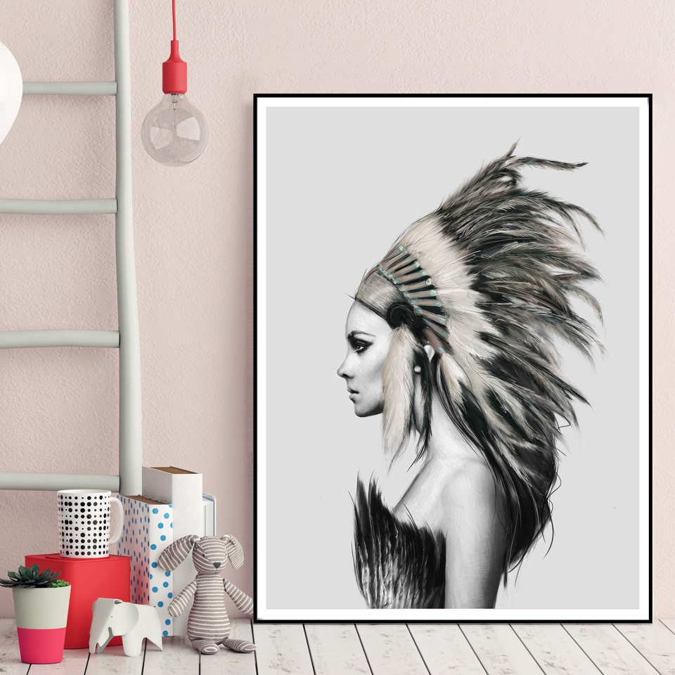 indians women feather art canvas poster painting black white abstract minimalist modern home. Black Bedroom Furniture Sets. Home Design Ideas
