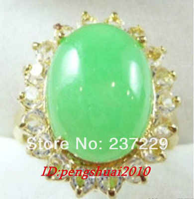ร้อนขาย->@@ขายส่งราคาS ^^^^ดีเยี่ยมจีน18KGPหยกสีเขียวทานตะวันคริสตัลแหวนผู้หญิงขนาด: 6.7.8-top quality fr