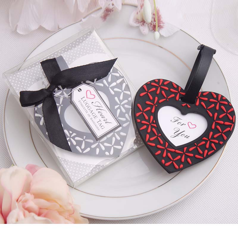 50Pcs Free Shipping PVC Heart Airplane Luggage Tag Favor Travel Luggage Baggage Tag Wedding Favour For Guests Regalos Para Bodas