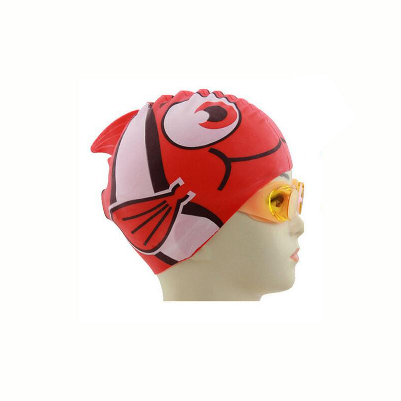 Hot New Waterproof Silicone Swimming Cap Unisex Children Cartoon Hat Protect Ears Diving Waterproof Shark Red Free Size For Baby