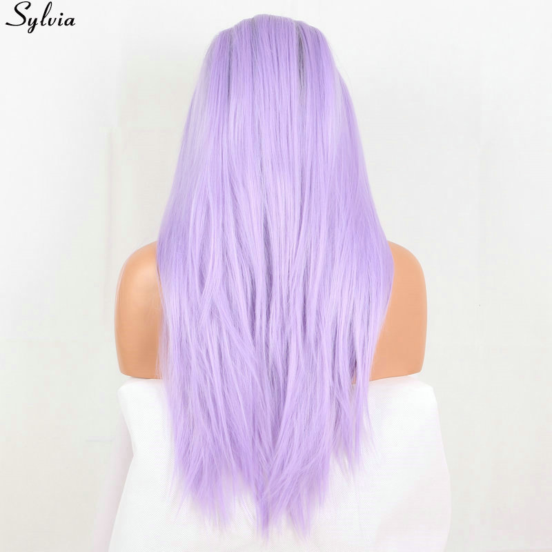Sylvia Heat resistant fiber hair brown root ombre light violet color pastel  purple wig synthetic lace front free shipping  (2)