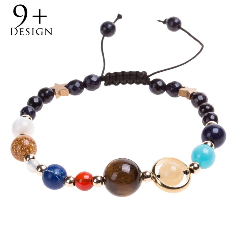 Anklets 2 Style Women Exquisite Galaxy Eight Planets Solar System Stars Round Bead Chain Gold Silver Pendant Anklet Set Fashion Jewelry