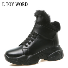 E TOY WORD women winter boots round toe Ankle Boots Warm Plush Women Shoes platform Lace Up Fur Botas Mujer