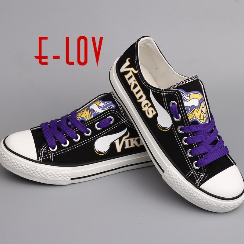Лидер продаж, летние туфли Миннесота Викинги США печати парусиновые туфли Для мужчин Обувь для мальчиков Вентиляторы настроить Обувь больш...