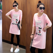 Real Korean Women's Plus Size Clothing 2016 Fashion Loose Long Sleeve O-neck Casual Tshirt Funny Cartoon T Shirts Pink Black