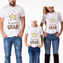 Hot Sale Family Look Matching Short Sleeve Star Printing T-Shirt For Mother Daughter And Father Son Clothes Cotton White Tshirt family matching clothes summer fashion mother daughter dress father son short sleeve cotton tshirt patchwork striped family look