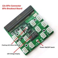 PCI E 6Pin Power Supply Server Breakout Board With 12x PCI E 6Pin Port For Mining