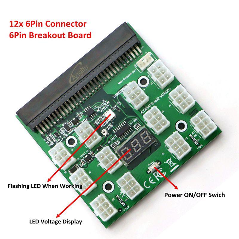 PCI-E 6Pin Alimentation Serveur Sfe avec 12x PCI-E 6Pin Port pour L'exploitation Minière.