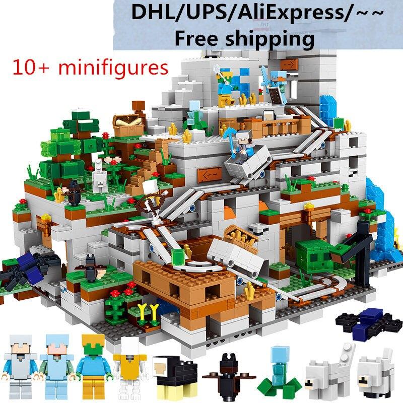 Monde mine bricolage jeu de blocs de construction chiffres compatibles Legos Minecraft ville briques jouets éducatifs pour les enfants
