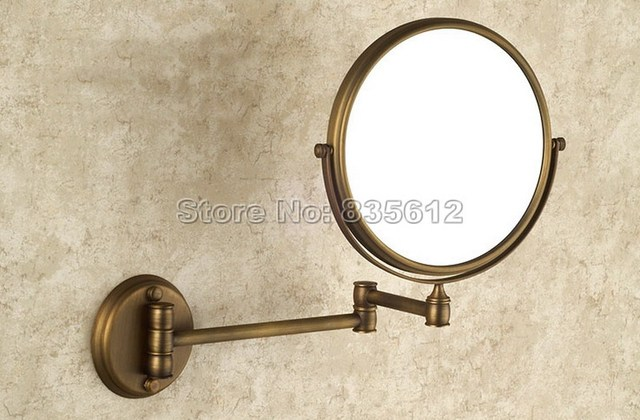 Antique Brass Folding Dual Arm Extend Bathroom Mirror Wall Mounted Magnifying 2-Face Makeup Mirror Bath Wba627