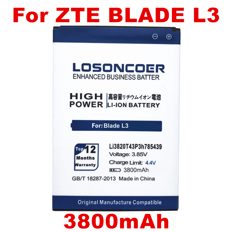 LOSONCOER LI3820T43P3H785439 3800mAh Battery For ZTE Blade L3 Battery
