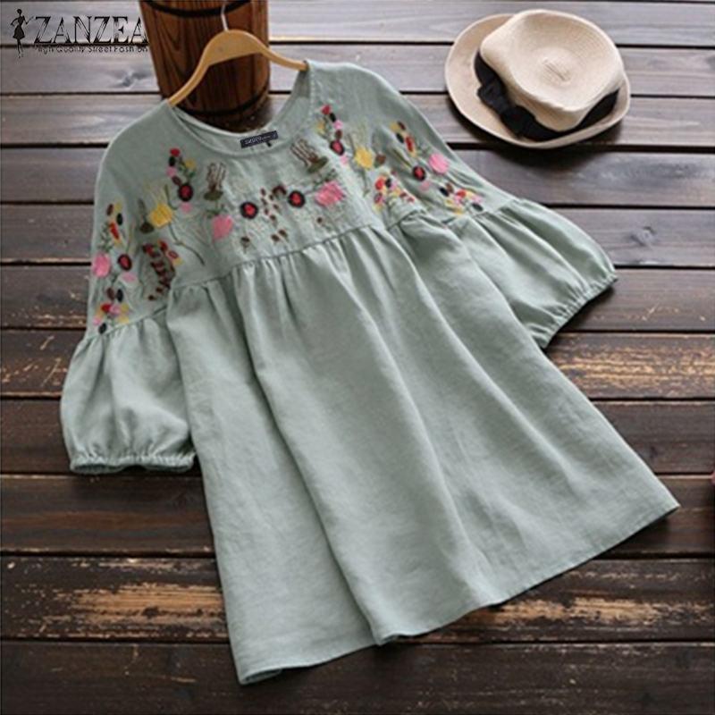 ZANZEA Women Embroidered Blouse Summer Short Sleeve Cotton Linen Shirt Femininas Tops Female Vintage Party Blusas Robe Femme
