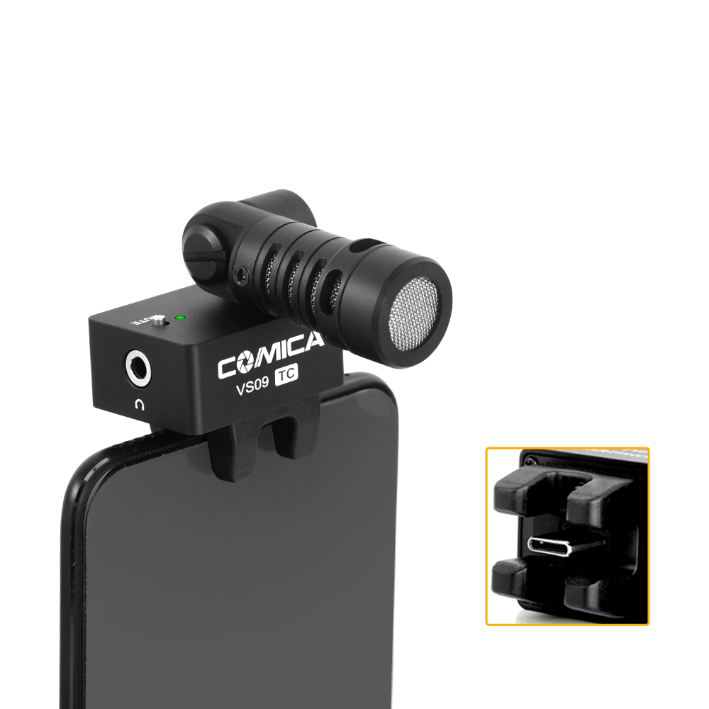 CoMica CVM-VS09TC Cardioid Smartphone Microphone for Phone w Type-C interface Super Recording 180 Rotation Real-Time Monitoring