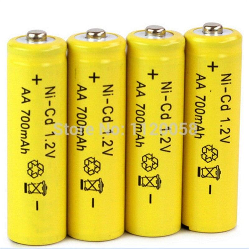 Аккумуляторная батарея AA 500 раз, 4 шт./лот, 700 мА/ч, 1,2 В, Ni-CD, 2 А, нейтральная батарея для радиоуправляемого контроллера, игрушки, электронные и т...