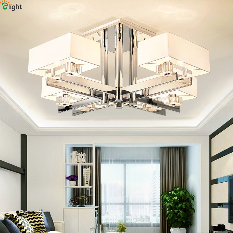 Modern Chrome Metal Living Room Led Chandelier Lighting Dining Room Led Pendant Chandeliers Lamp Bedroom Hanging Lights Fixtures