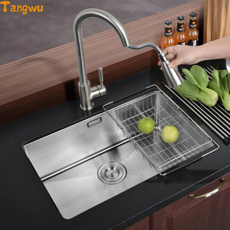 Free shipping single trough 304 thick stainless menu dishes wash ...