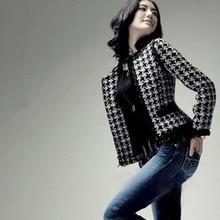 Горячая Распродажа! Весенне-осенняя Женская шерстяная куртка с рисунком «гусиная лапка», короткие куртки, элегантная верхняя одежда из органической шерсти, большие размеры, S-4XL, qy1303285