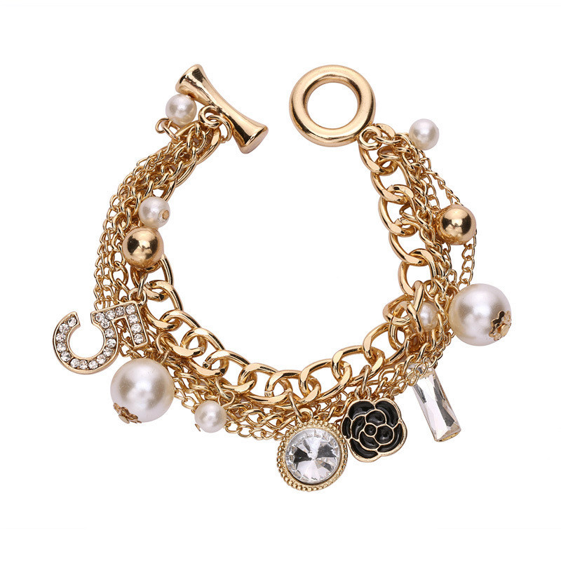 Camellia Letter 5 ABS Pearl bracelet Charms CNANIYA Brand Jewelry Multilayer Gold Color Chain Bracelets For Women Pulseras Mujer