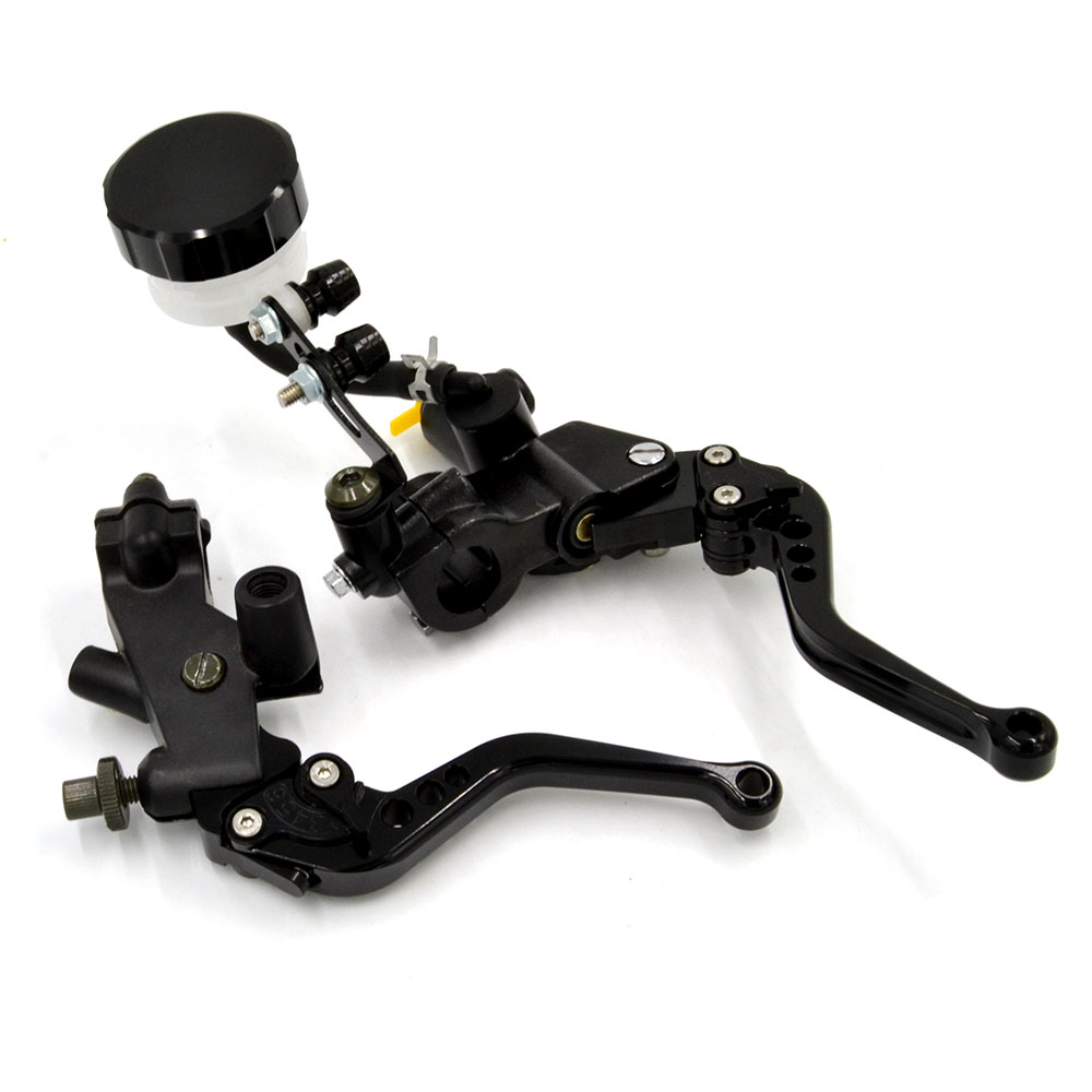 Black 7/8 22mm Universal Motorcycle Clutch Brake Levers Master Cylinder Kit Reservoir Set For Yamaha YZF R1 R6 Tmax 500 530 2pcs universal 7 8 22mm motorcycle brake hydraulic master cylinder reservoir levers r1 r6 zx6r k6 k8 z1000 gsxr600 750 cbr600