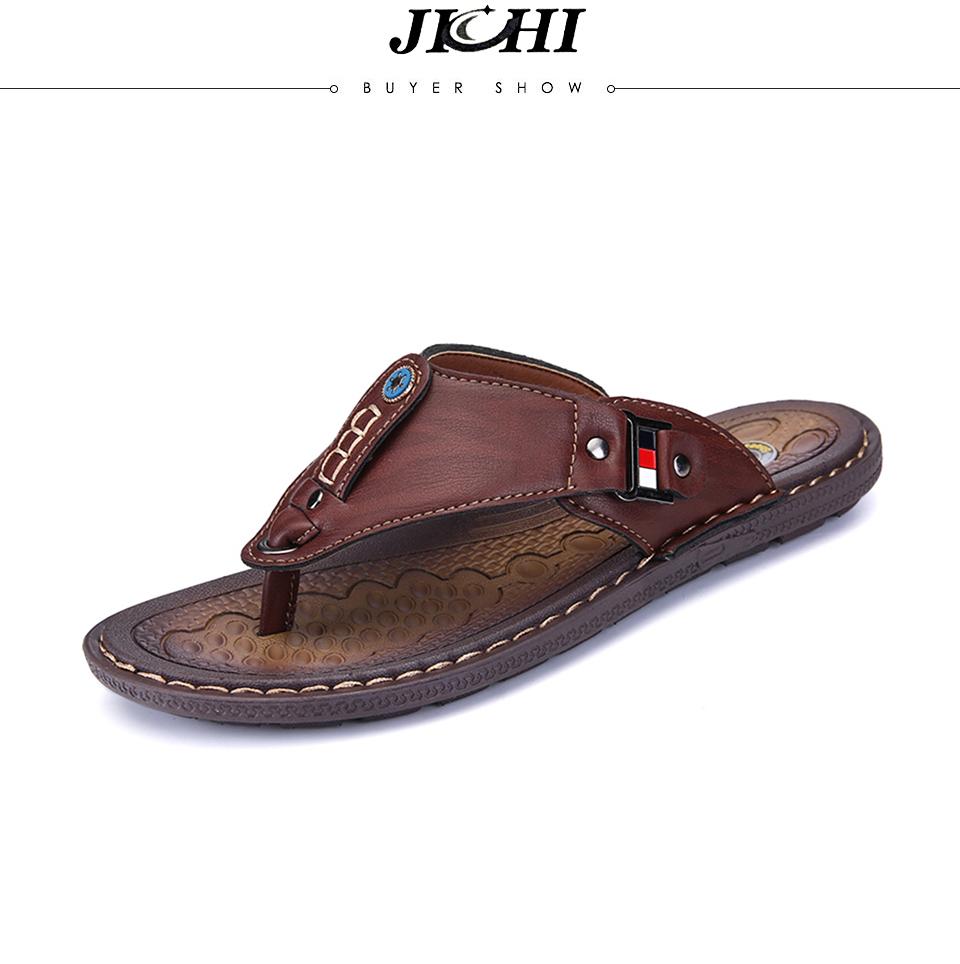 6a11027e3 2019 Summer Beach Men Flip Flops Pu Leather Slippers Male Flats ...