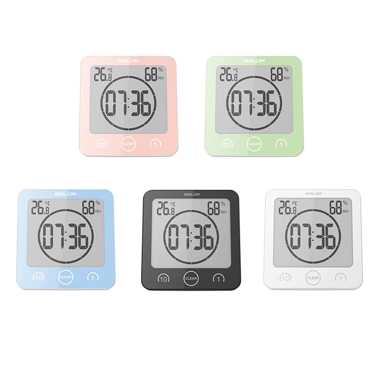 LCD Screen Waterproof Digital Bathroom Wall Clock Temperature Humidity Countdown Time Function Wash Shower Hanging Clocks Timer