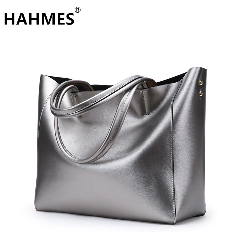 HAHMES 100% Genuine Leather Women Bags Fashion Casual tote handbag Wholesale High capacity shoulder bag 31cm 10602# hahmes 100