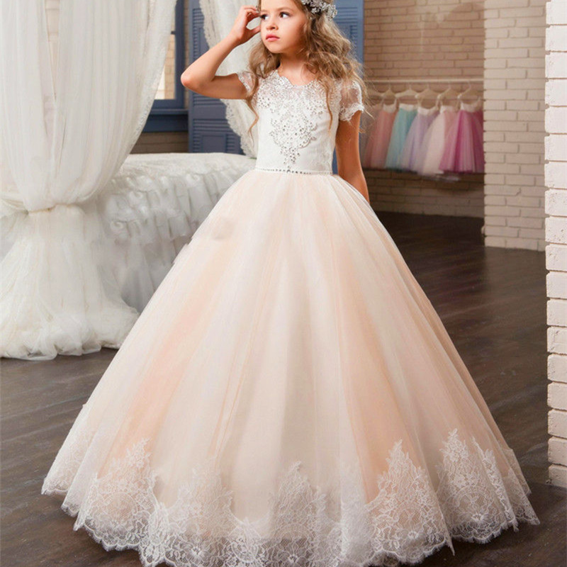Flower Girl Dresses Scoop Sleeveless Party First Communion Appliques Dress