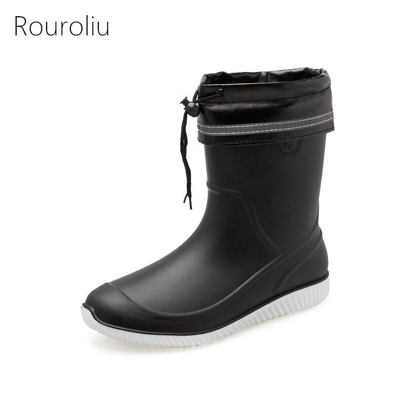 Rouroliu nouveau hiver bottes de pluie chaudes pour hommes plate-forme bottes antidérapantes mi-mollet imperméable à l'eau chaussures chaussettes amovibles FR11
