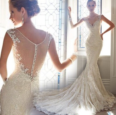 Sexy elegant lace wedding dress wedding dresses dressesss for Sexy classy wedding dress
