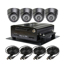 Free Shipping I/O H.264 4CH 2TB Hard Disk Car DVR Recorder Video Playback Kit Night Visio CCTV Car Dome Camera for Truck Van Bus