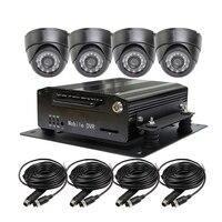 Miễn phí Vận Chuyển Tôi/O H.264 4CH 2 TB Đĩa Cứng Xe DVR Ghi Video Playback Kit Đêm Visio CCTV Car Dome Camera cho Xe Tải Văn Bus