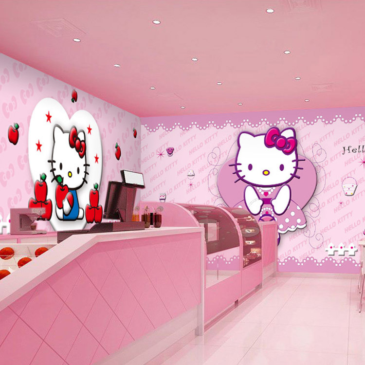 Hello kitty cartoon cat large mural the childrens room bedroom