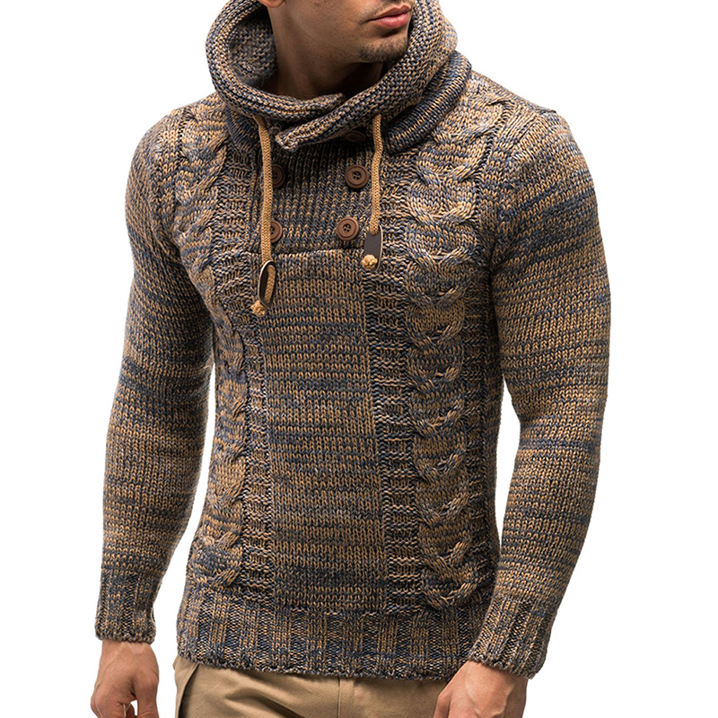 Hooded Knitted Sweater Men Solid Pullover Long Sleeve Button O Neck Cotton Sweaters Jumper Knitwear Winter Outerwear