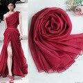 Círculo 100% de la Bufanda de Seda toalla de playa Abrigo de Verano Puro Vino Bufandas Del Diseñador de La Marca de Moda Nueva Famosa Mantones de seda roja y Pashmina