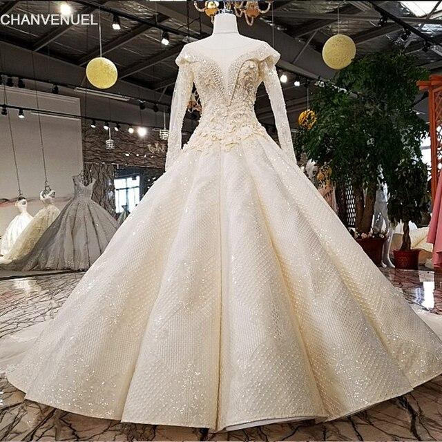 LS09811 bridal gown v neck lace fashion applique flower pattern ...