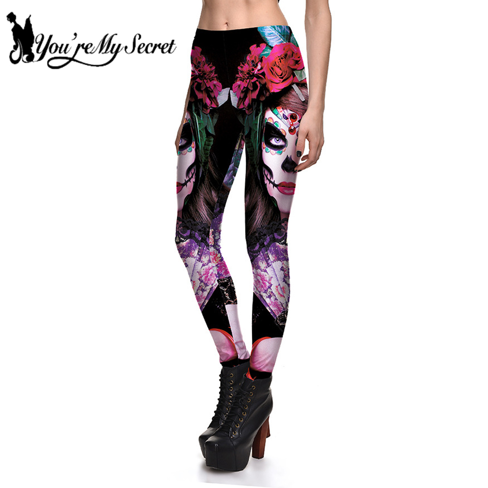 [You're My Secret] 2019 New Leggins Halloween Skull Girl Digital Print Women's   Leggings   Fantastic Gothic Style Cute Ankle Pant