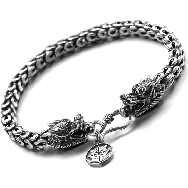 607e7d41e3a807 4mm and 8mm thick 100% Real Pure 925 Sterling Silver bracelet Men dragon  Bracelet fashion fine jewelry HB64