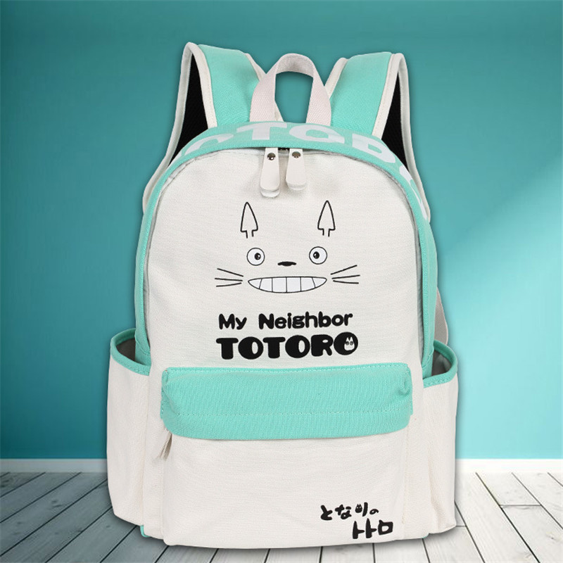 2017 Anime Tonari no Totoro Canvas Printing Backpack Kawaii Totoro School Bags for Teenagers Laptop Backpack Mochila Feminina tonari no totoro my neighbor totoro kawaii anime cartoon peripherals wallet p009