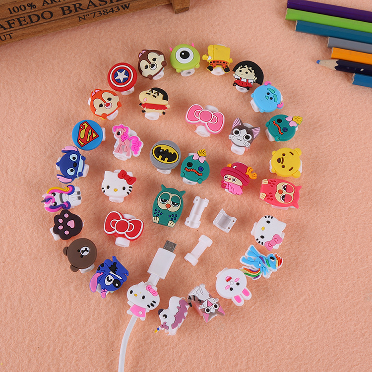 300pcs lot Cartoon Cable Protector for iphone 5 6 7 8 X Cord Protection Protective Cover