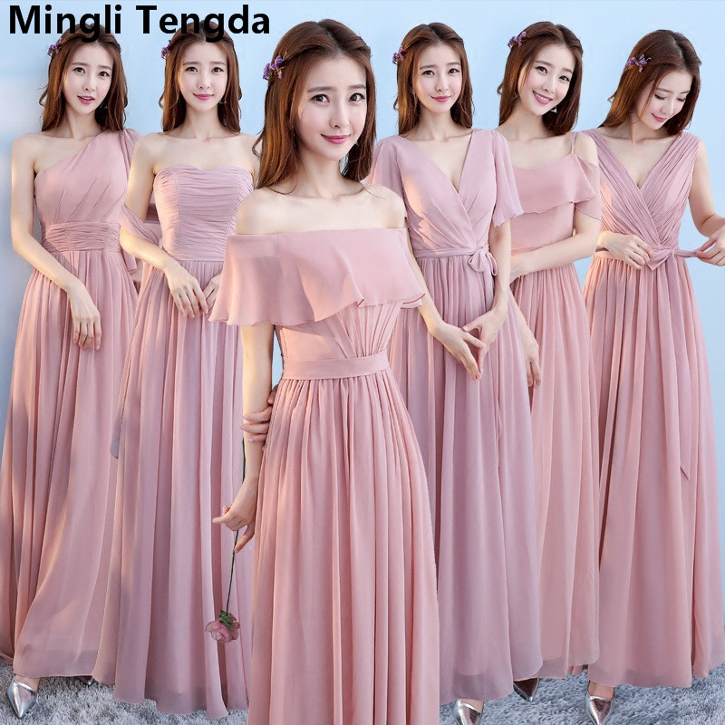 Six Style A Line Chiffon Bridesmaid Dress Boat Neck Off the Shoulder Dresses Long Dresses for Wedding Party Mingli Tengda 2018