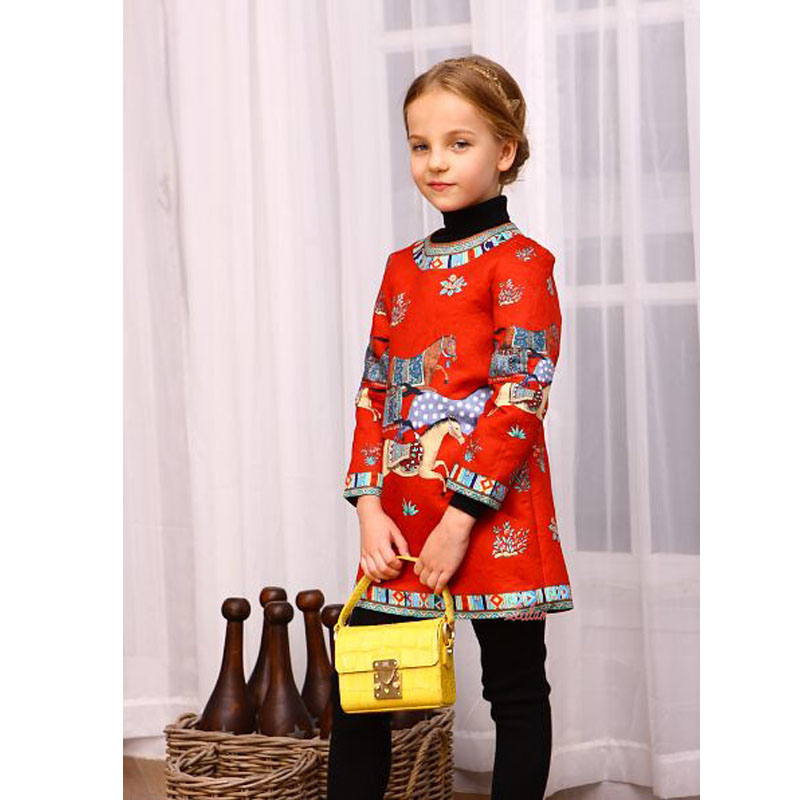 Fashion Red Girls Party Dresses Printing Kids Christmas Costumes Winter Princess Dress Long Sleeve Girls Christmas Dress