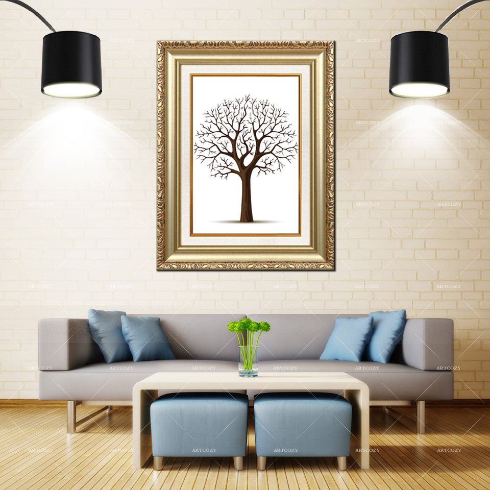 Artcozy Golden Frame Abstract tree without leaves. Waterproof Canvas PaintingArtcozy Golden Frame Abstract tree without leaves. Waterproof Canvas Painting
