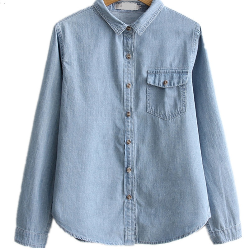 Denim Shirt Blouse Plus Size Wome Long Sleeve Button Up Pocket Dark Blue Cotton Denim Blouses