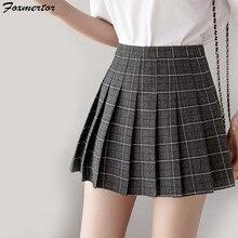 0ef9d23888 Las nuevas mujeres Mini faldas cortas en mujer de moda de verano de cintura  alta Falda plisada falda a cuadros negro Sexy faldas.