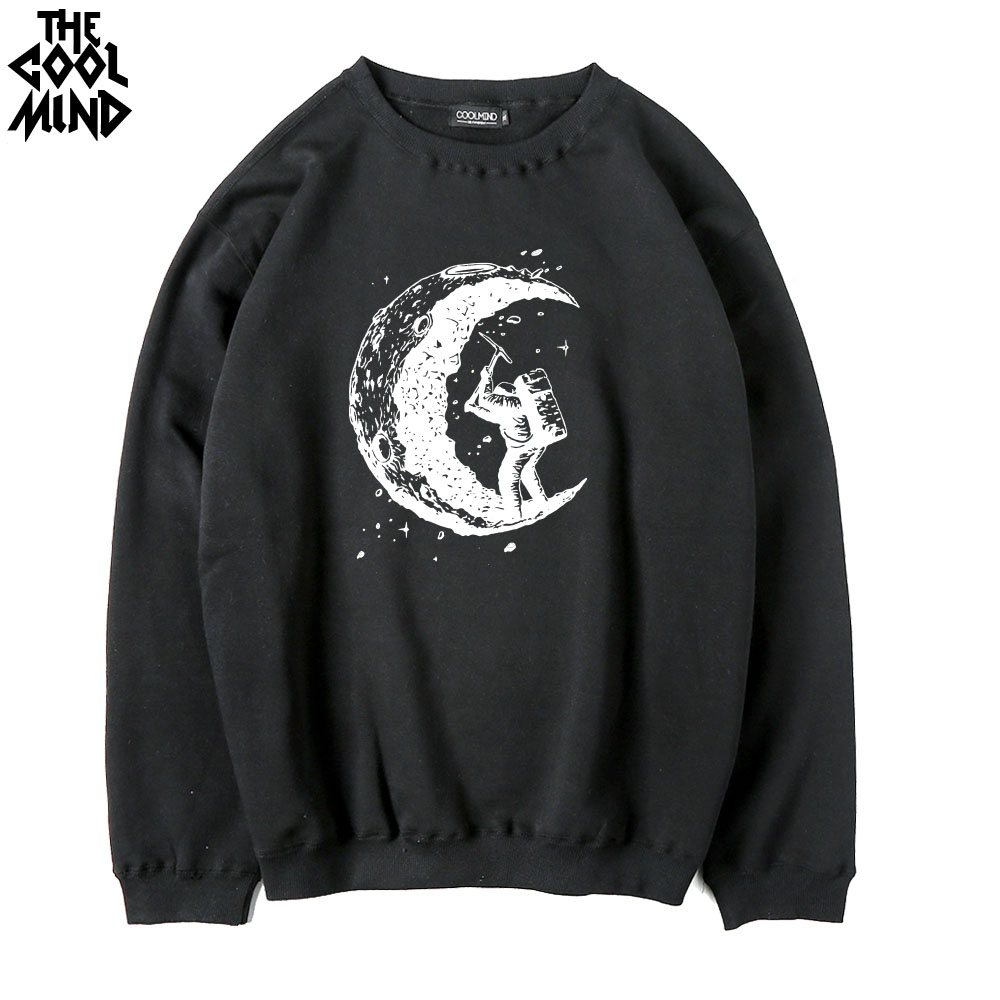 THE COOLMIND cotton blend fleece digging the moon printed men Hoodies casual Thick warm o-neck moon miner men swearshirts