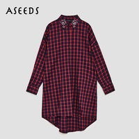 2018 Vintage Long Sleeve Blouse Women Red Black Plaid Shirt Womens Tops And Blouses Korean Fashion
