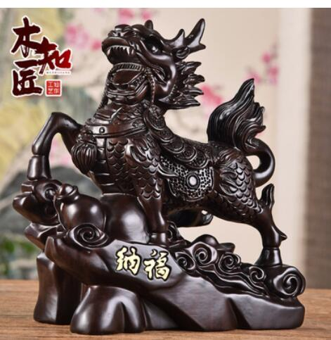 Black sandalwood carve kirin places curtilage lucky money changes real annatto live in geomantic kirin office living room home
