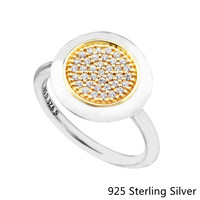 Real 925 Sterling Silver Gold Signature Pave Round Ring with Clear Cubic Zirconia Anniversary Jewelry for Women