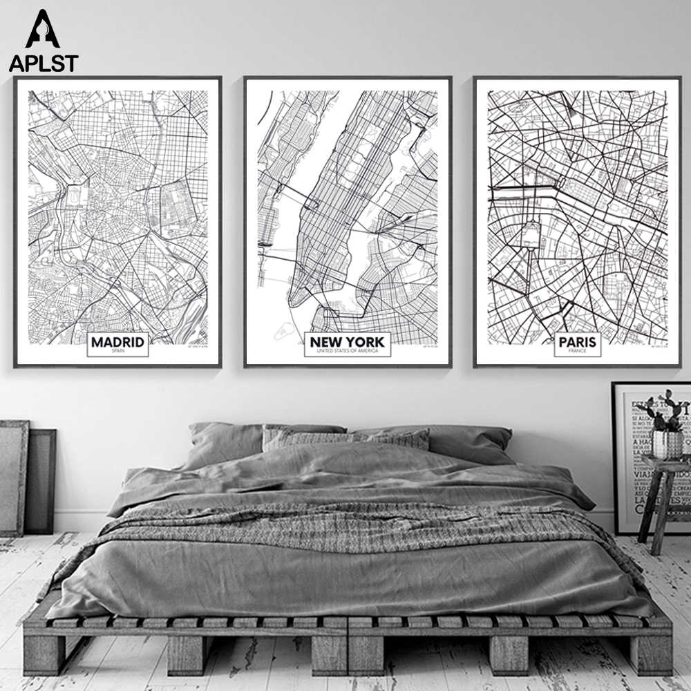 Black And White Madrid large world map new york madrid paris 16 city maps prints nordic posters  black white canvas painting living room wall pictures